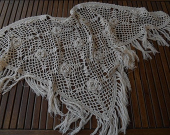 Handmade crochet ecru cotton triangular shawl