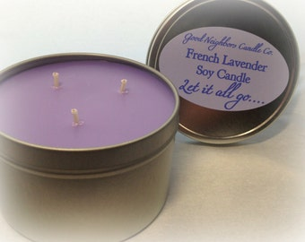 Soy Candle, French Lavender, 16 ounce Seamless Tin