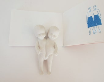 Ready to ship - Conjoined twins porcelain sculpture