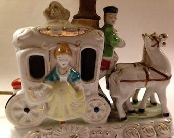 Ceramic Cinderella Lamp For Your Princess. Vintage Bedside Table Lamp Sheds a Soft Light