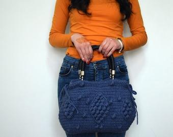 Crochet Bag Handmade  Denim Blue Crochet Bag, Celebrity Style,Crochet winter  bag- shoulder bag- crochet bag-Free Shipping