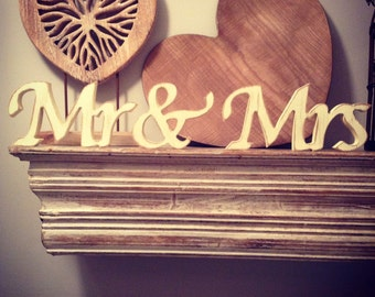 Wooden Wedding Letters - Mr & Mrs - New AC Font - joined, Free-standing - ANY COLOUR