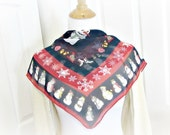 Vintage 1960s Winter Scarf, Red Black Sheer Scarf, CHRISTMAS Scarf, Snowflake Snowman Scarf, Retro Hair Scarf, Rockabilly Head Scarf Wrap