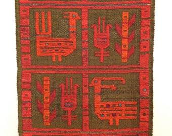 Vintage Sumak Soumak Wall Hanging Panel - Tribal Birds and Symbols