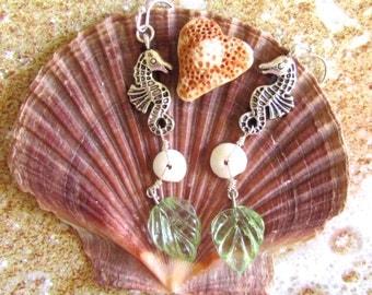 Playful Seahorse Shell Earrings