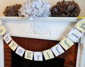 Yellow & Gray Baby Shower Decorations- Chevron/Polka Dot Baby Personalized Name Banners- New Baby Sign -Nursery Garland- You Pick the Colors