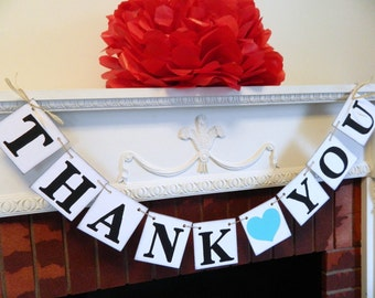 THANK YOU BANNER - Wedding Banner Photo Prop - Thank You Wedding Sign - Teal/aqua Blue Wedding Decoration- Your color choice
