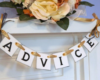 Wedding Advice for the Bride and Groom Banner- Mini Wedding Birdcage Sign- Advice Suitcase Sign- You Pick The Colors
