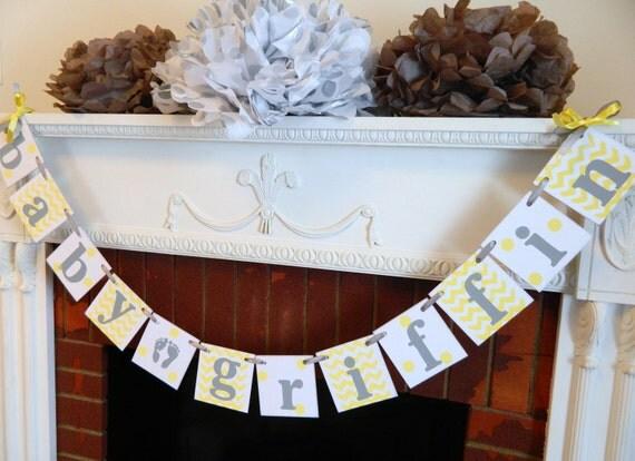 yellow gray baby shower decorations chevron polka dot baby