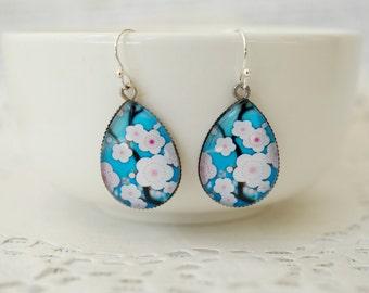 Teardrop Japanese Blossom Earrings