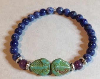Gorgeous Geekery Trilobite Bracelet in Turquoise, Purple, and Blue - Dinosaur, Paleo, Science, Geology, Turquoise, Blue, Green