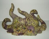 Olive and Tan shoggoth Lovecraft horror plush doll handmade original pattern, handpainted eyes blob tentacles monster