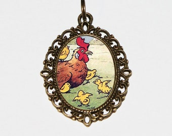Mother Hen And Chicks Necklace, Baby Chicks, Farm Jewelry, Mother Bird, Oval Pendant