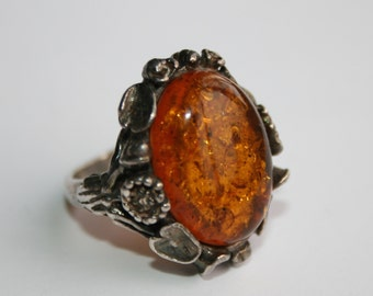Sterling Silver Baltic Amber Ring- Art Nouveou Ring - Floral Decoration Ring