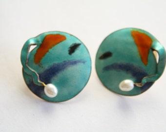 Vintage Sterling Enamel mid-century modern Earrings