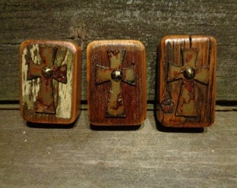 Reclaimed Barn wood Magnets with metal Cross