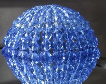 Large Beaded Light Bulb Shade, Deep Sapphire Faceted Glass, Lamp Shade Ceiling Light Cover, Pendant Light, For Standard Size Light Bulbs