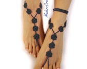 Black Barefoot Sandals- Foot Jewelry- Footless Sandals- Barefoot Wedding Sandals- Goth Girl Gift- Beach Wedding- Valentines Day Gift- Girl