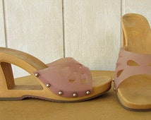 vintage 90s jelly faux wood wedge sandals 40 / 9  lavender cutout wedge