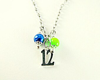 Silver Pendant Necklace,  Seahawks Inspired 12th Man Necklace  Womens Gift  Handmade