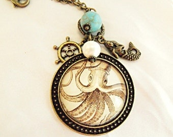 Bronze Pendant Necklace,  Steampunk Giant Squid Or Octopus Image Necklace With Turquoise Bead, Shell Pearl And Charms  Womens Gift