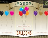 Party Balloons - Clip Art - 32 Separate PNG Balloon Files, 3 styles, Muliple colors, Transparent backgrounds - Instant Download