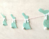 SALE Light Turquoise Blue Burlap Cottontail Bunny Bunting Garland with White Bows and Tails