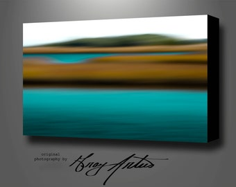 Large WATERSCAPE Abstract WALL ART, Canvas Printed Photography Gallery Wrapped Stretched, Signed and Ready To Hang