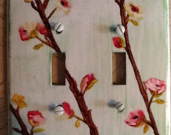 Alcohol ink Dogwood branch switch plate