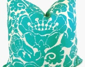 Trina Turk Turquoise Damask Designer Indoor Outdoor Decorative Pillow Cover, Schumacher, 18x18, 20x20 or lumbar pillow