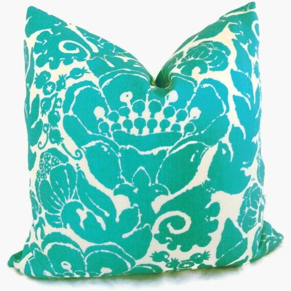 Trina Turk Turquoise Damask Designer Indoor Outdoor Decorative Pillow Cover, Schumacher, 18x18, 20x20 or lumbar pillow