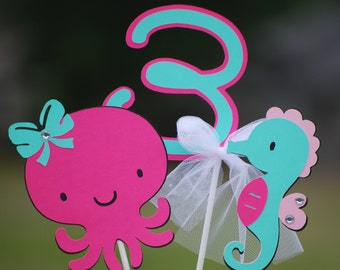 Under the Sea Girl Hot Pink and Teal Birthday Party Centerpiece