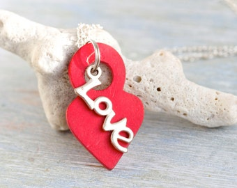Love Necklace - Red Heart Pendant on Chain