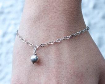 Little Sphere Charm - Sterling Silver Vintage Bracelet