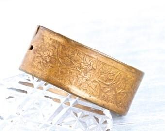 Brass Cuff Bracelet - Wide Boho Oxidized Bangle