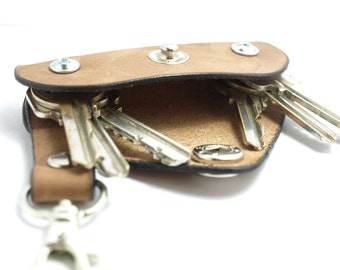 Extremely convenient keychain key holder from Leather Vege Tanned - Tan Holds 4-8 regular keys, free monogramming ,belt hanger GIFT IDEA
