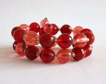 Red Wrap Bracelet, Red Lucite Memory Wire Bracelet, Red Jewelry