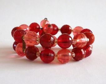 Vintage Red Bead Wrap Bracelet