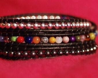 Silver Beaded Leather Wrap Bracelet - Silver Beaded Wrap Bracelet - Colorful Leather Wrap Bracelet (B330)