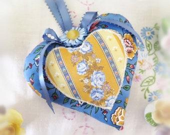 Heart Sachet 5 inch Sachet Heart, Blue Floral and Gold Stripes, Lavender Buds, Folk Art, Handmade CharlotteStyle Decorative Folk Art