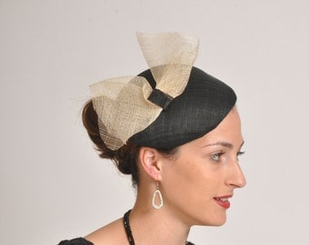 elegant black cocktail hat, Royal Ascot  hat U.K., hat for the races, one of a kind hat made in Israel