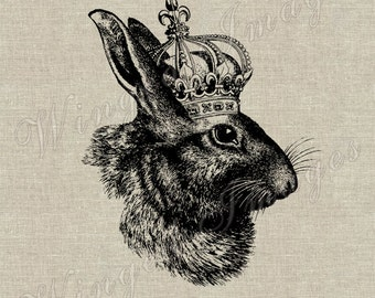 Rabbit with Crown. Instant Download Digital Image No.311 Iron-On Transfer to Fabric (burlap, linen) Paper Prints (cards, tags)
