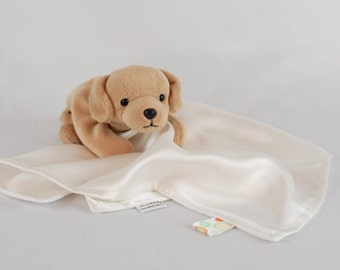 Silk Lovey, Non Dyed White, Baby and Toddler Security Blanket, 100% Mulberry Charmeuse Silk 19mm