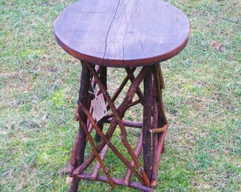 RUSTIC TWIG TABLE, Adirondack Style, Side Table, Occassional Table, Candle Stand, Folk Art, Primitive, Reclaimed Wood, Twig Table, Tramp Art