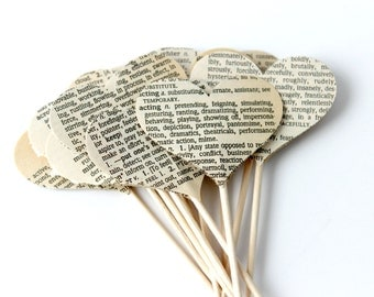 12 Vintage Heart Cupcake Toppers, Romantic Cake Topper, Book Club, Wedding Decoration, Bibliophile