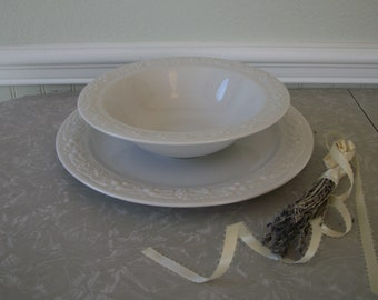 Vintage White Iron Stoneware Homer Laughlin Serving Bowl & Large Plate Charger Dip and Chips Embossed Fruit Restaurant Ware Made in USA
