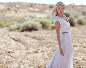"Bohemian Wedding Dress Cap Sleeve Cut Out Crochet Lace Bridal Gown - ""Lennox"""