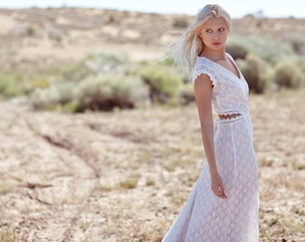"Bohemian Wedding Dress, Cap Sleeve Wedding Gown, Cut Out Dress, Crochet Lace Bridal Gown - ""Lennox"""