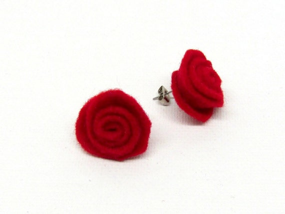 Valentine Jewelry Red Hot Rose Rosette Earrings Stud Post Earrings Light Weight  Eco Friendly Earth Friendly More Colors Available