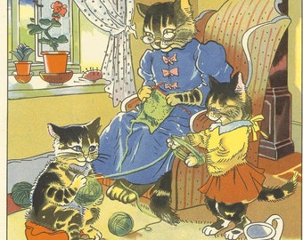 Vintage 1940s Childrens Print By Hilda Boswell Mother Cat Sits Knitting Beside Window Kittens Wind Wool Cartoon Cats Book Plate Illustration